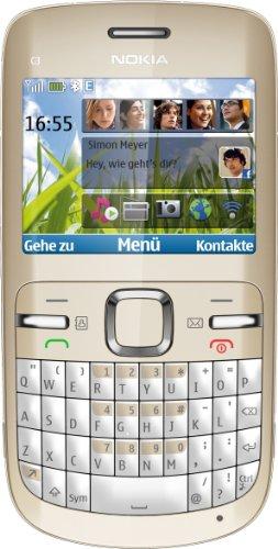 Nokia C3 Smartphone (6.1 cm (2.4 Zoll) Display, Bluetooth, 2 Megapixel Kamera, QWERTZ-Tastatur) gold/weiß