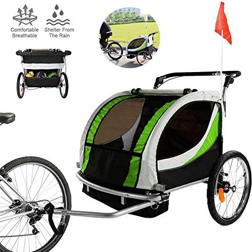GWSPORT 3-In-1 Doppel 2 Sitz Fahrradanhänger Jogger Kinderwagen für Kinder Kinder, Faltbar mit Schwenkbarem Vorderrad RIST Fahrradanhänger Für Kinder,Grün