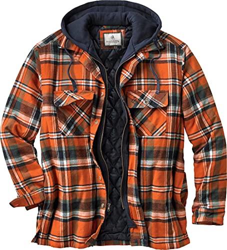 Legendary Whitetails Men's Maplewood Hooded Shirt Jacket, Tomahawk Plaid, Large