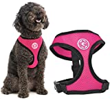 Gooby Dog Harness - Fashion Pink, Medium - Soft Mesh Head-in Small Dog Harness with Breathable Mesh - Perfect on The Go Mesh Harness for Small Dogs or Cat Harness for Indoor and Outdoor Use