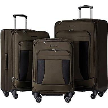 Merax Flieks 3 Piece Luggage Set Expandable Spinner Suitcase (gray)