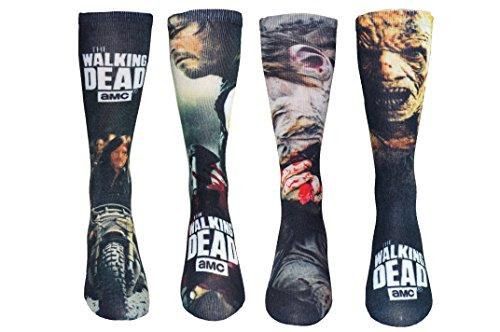 The Walking Dead Socken (4 Paar) – (1 Größe) Daryl Dixon, Walkers Crew Socken TWD Merchandise Damen & Herren