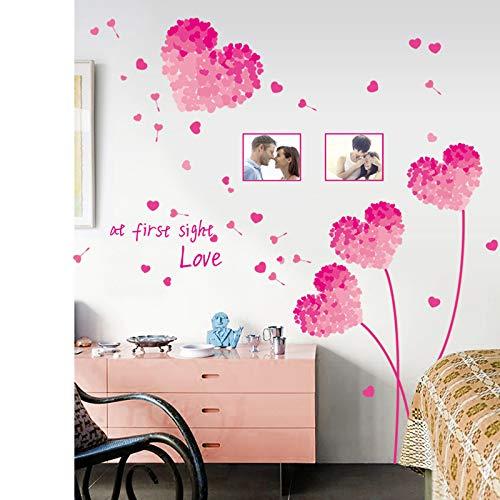 Muurstickers Stickers Roze Liefde Gras Paardebloem fotolijst Grote Achtergrond Waterdichte Muursticker Schilderen kan worden verwijderd
