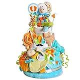 MomsStory – Tarta de pañales para niño | Elefante | Regalo de bebé para nacimiento, bautismo, baby shower | 3 pisos (turquesa-naranja) XXL grande | con peluche de peluche, babero y mucho más