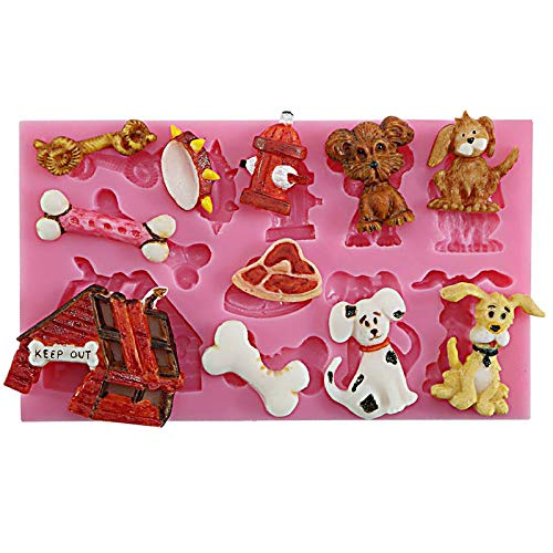 Funshowcase Cute Puppy Dog Theme Silicone Mold for Cake Decoration, Sugar paste, Chocolate, Fondant, Resin, Polymer Clay Projects