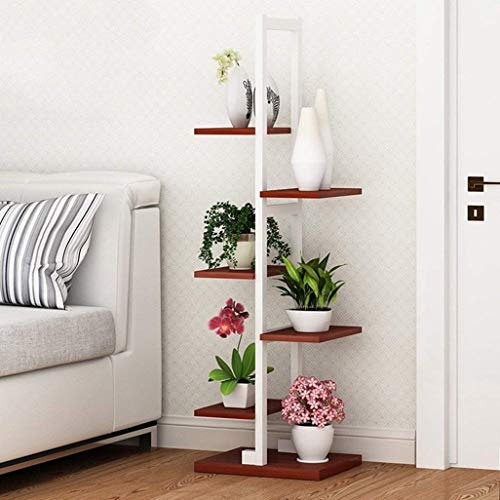 Flower Stand Plant Shelf Wooden Decor Shelf Metal Plant Garden Shelf Display Stand Terrace Stand Outdoor/Indoor 6-flower Stand Holder in White for Living Room Office 30x30x122cm ( Color : Teak Color )