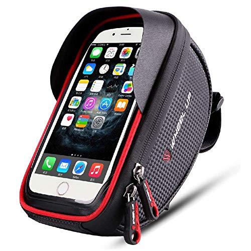 Fahrrad Rahmentasche, Fahrradtasche Oberrohrtasche Handy Tasche, Wasserdicht Sensitive Touch Screen, Geeignet für iPhone 11 Pro XS Max XR X Plus, Samsung Note S10 S9 Mobiltelefone bis 7.0 Zoll