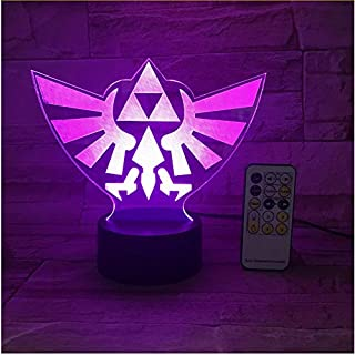 The Legend of Zelda Triangle 3D USB Led Night Light 7Colors Illusion Lamp Touch Or Remote Control Kids Living Bedroom Desk Lamp,Sykdybz