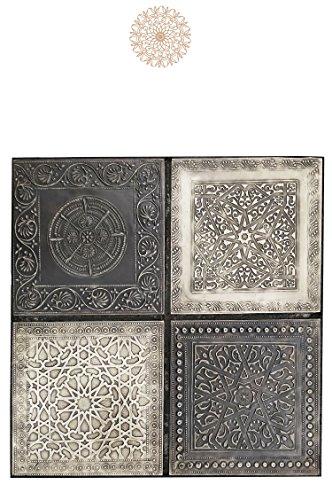 4er Set Orientalisches Wandbild Wanddeko Sahra-4-30cm aus Metall   Orientalische Vintage Wanddekoration Für Wohnzimmer, Schlafzimmer oder Küche   marokkanisches Fliesen Design als Dekoration