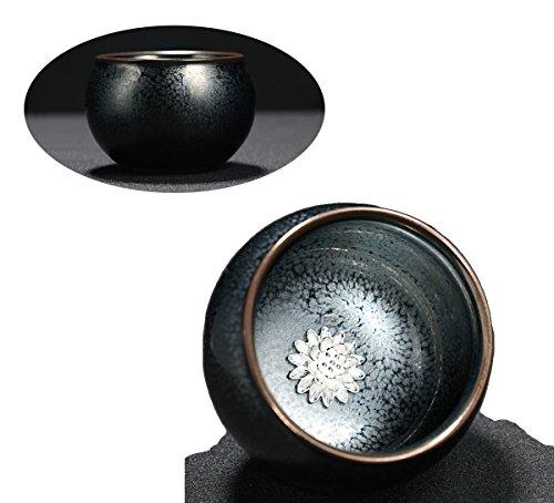 Mkuha Bol à thé en céramique-incrusté d'ornements en Argent Pur-adopte la Technologie Traditionnelle Chinoise 110ML-noir, Fleur