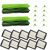 Amyehouse Replacement Parts Kit for iRobot Roomba i6 i6+ i3 i3+ i4 i4+ i7 i7+ i8+ Plus E5 E6 Vacuum,Including 2 Rubber Brushes & 10 High-Efficiency HEPA Filters & 10 Edge-Sweeping Side Brushes