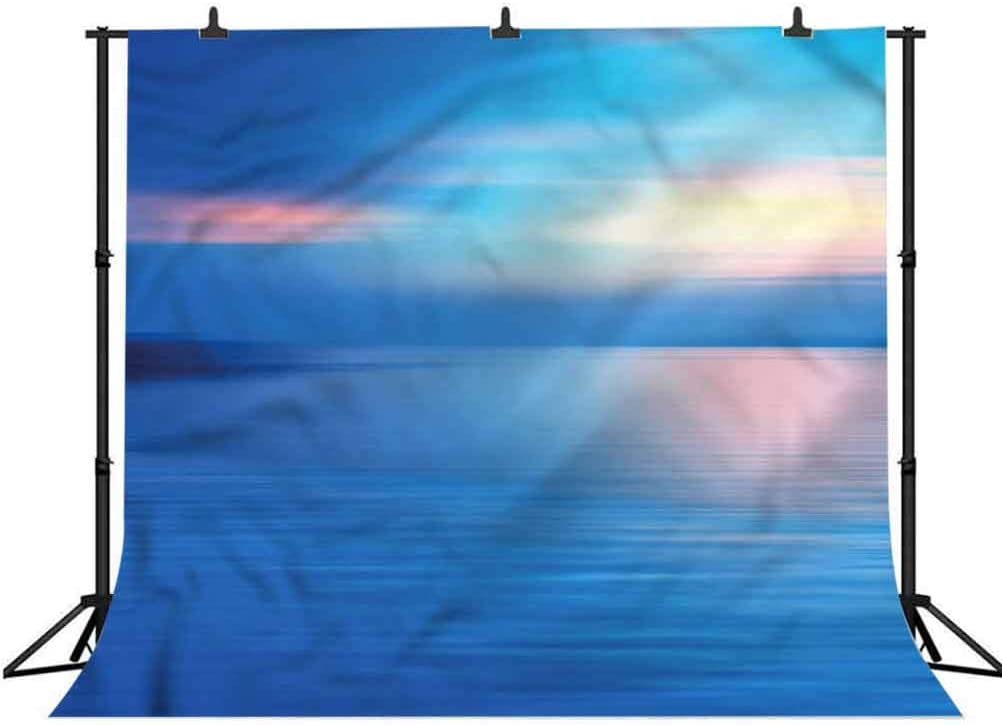 8x8FT Vinyl Photography Backdrop,Landscape,Panoramic Ocean Scene Background for Selfie Birthday Party Pictures Photo Booth Shoot
