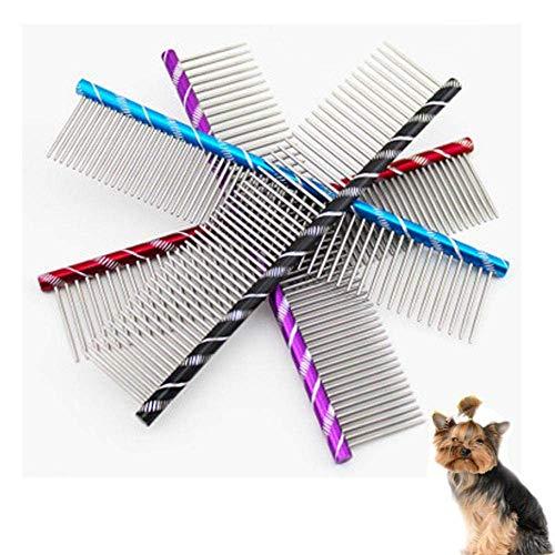 Dirgee Peine de Metal para Perros Acero Inoxidable Perro para Mascotas Pin Pin Pin Peine Cepillo Peinado Peinado Pulgar Peine Perros Perros Cats Mascotas METICAS Higo