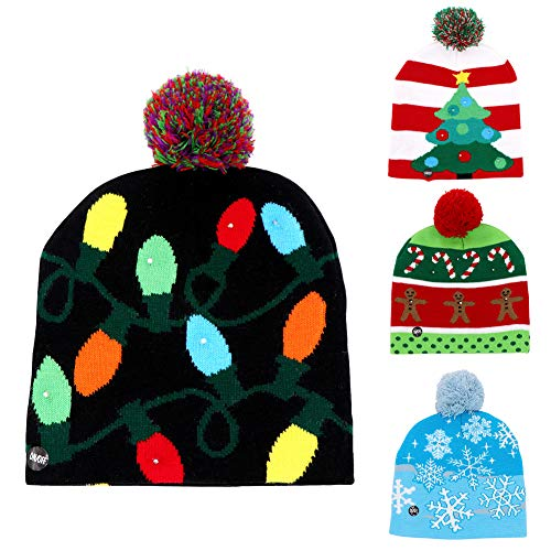 OurWarm LED Light-up Christmas Hats Xmas Santa Ugly Hat Beanies 10 Colorful Lights Flashing Cap for New Year Party, Dark Blue Color