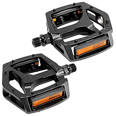 SEISSO Mountain Bike Pedal Set, Aluminum Alloy Non-Slip 9/16 Inch Bicycle Pedals for Mountain Bicycle Road BMX MTB Bike