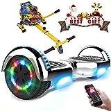 RCB Gyropode électrique Auto-Equilibré Scooter Electrique Auto-équilibré 6,5 Pouces avec LED + Hoverkart Accesoires pour Scooter Cadeau pour Enfants et Ados Cadeau pour Noël