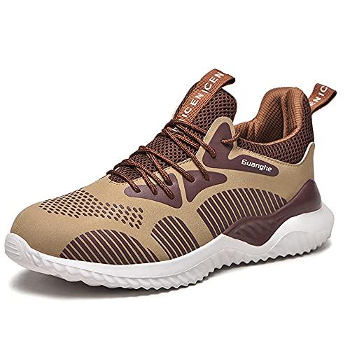 JUNCSQ Safe Working Shoes for Men, Fashion Lightweight Steel Toe Shoes, Kevlar Fiber Safety Sneaker, Breathable Deodorant, Plus Size (Color: Khaki, Size: Men 11.5 Women 13)