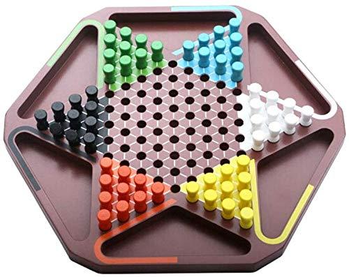 Schaakbord speelgoed Chinees Dammen, Houten Hexagonal schaakbord, Children's Adult Puzzel Board Games, Gezond materiaal (Kleur: Bruin, Maat: 33,5 * 30 * 3,5 cm)