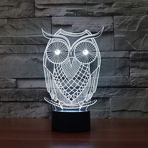 Nur 1 Stück Eule kreative LED-Licht bunte Berührung energiesparende Nachtlicht führte USB 3D-Lampen