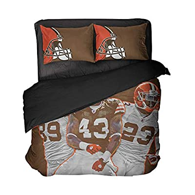 Maida Cleveland 3 Football Sportsmen Bed Sheet Sets Brown and White Duvets Coverlet King Size (Brown and White, Queen 3pcs)