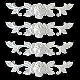 Ornament für Stuckleisten Deckenleisten Kunststoff unlackiert, weiß - Moderne Ornamente in verschiedenen Motiven (4er Set, Style 2, 17x4x1cm)