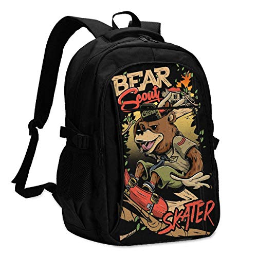 XCNGG Bear Scout Skater Personalized Customization Fashionable with USB Charging Backpacks
