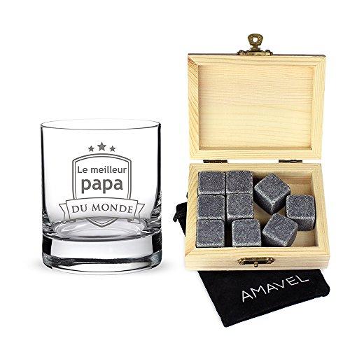 AMAVEL - Set : Verre et Pierres à Whisky dans Noble boîte en Bois - Le Papa du Monde - 9 Pierres rafraîchissantes, insipides et réutilisables - Cadeau d'anniversaire pour Papa - Standard