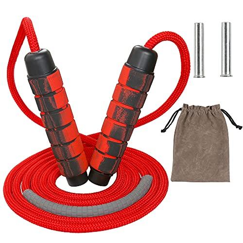 Rshuhx Corde à Sauter Rouge Jump Rope Réglable Accessoires Corde en Coton pour Fitness et Musculation Poignées Antidérapantes en Mousse pour Sport Maison Fitness Crossfit Sport Boxe