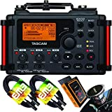 TASCAM DR-60DmkII 4-Input / 4-Track Multitrack Field Recorder with EMB Cable and Gravity Magnet Phone Holder Bundle
