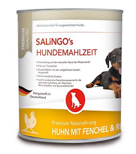SALiNGO Hundefutter nass, Huhn mit Fenchel und Reis, sensitiv (6x800g)