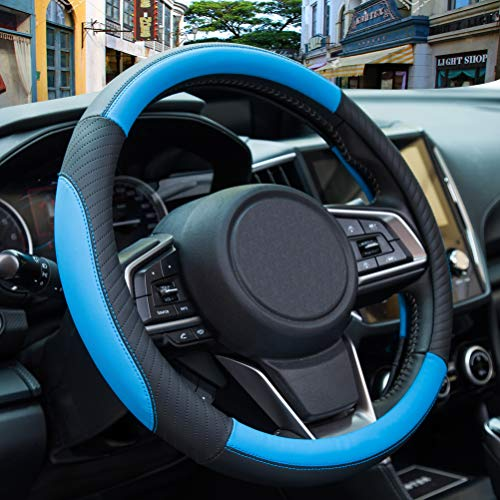 ZATOOTO Lenkradbezug Auto, Lenkradbezug Leder, 37-38cm, Anti Rutsch, Universal, Blau