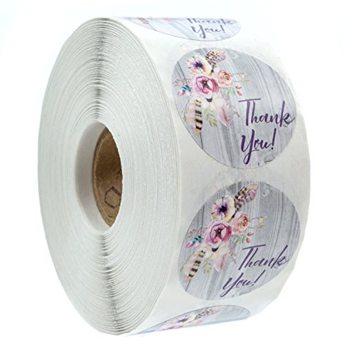 """Bohemian Floral Thank You Stickers - 1.5"""" Circle Labels / 1000 per Pack Rustic Chic Thank Yous"""