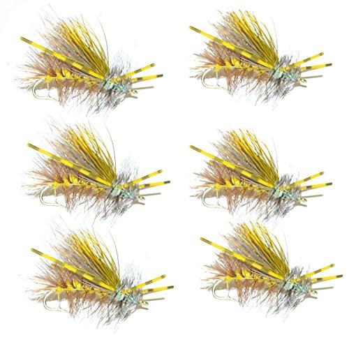 Gelb Kristall Stimulator Gummi Beine Forelle Dry Fly 6Fliegen Größe 14