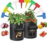 Bolsas de Cultivo de Papa,2 Pack 10 Galones Bolsas de Cultivo Plantas,Bolsa de Patata,con Ventana y Asas de Adecuada para Plantas Vegetales para Plantas,Patata,Tomates,Fresas, Cebollas y Otros