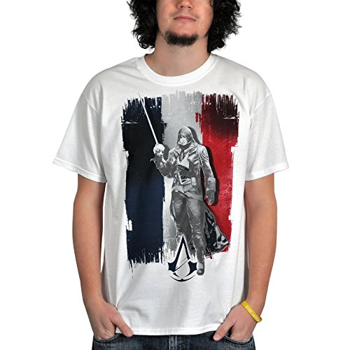 Assassins creed unity t-shirt arno french tricolore flag taille m (medium)