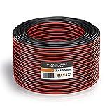 MANAX Cable para altavoz (2 x 1,5 mm², 20 m), color rojo y negro