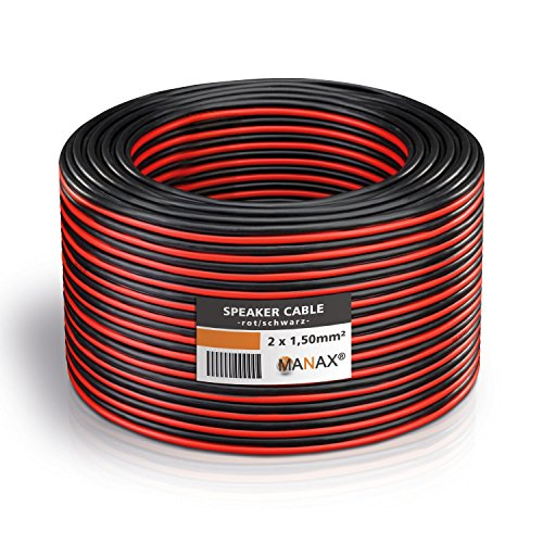 MANAX Cavo per altoparlante, 2 x 1,5 mm², anello da 20 m, rosso/nero