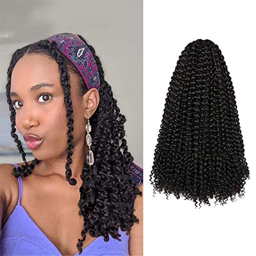 Passion Twist Hair 16 Inch 7 Packs Water Wave Crochet Braids for Passion Twist Crochet Hair Passion Twist Braiding Hair Hair Extensions (16 Inch 7Packs, 1B)
