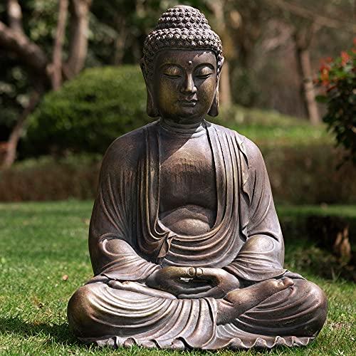Glitzhome GH20384 Meditating Buddha Temple Garden Statue Outdoor Sculpture Decorative, 22.83' H