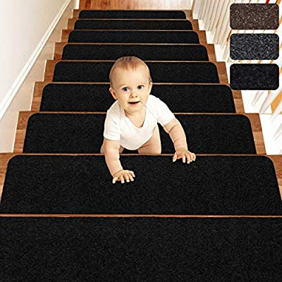 Matahum Stair Treads Carpect Non-Slip for Runner Wood Stairs Covers (15-Pack) Indoor for Dogs Elders and Kids, 8''X30'', Black