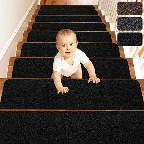 MATAHUM Stair Treads Carpet Non-Slip for Runner Wood Stairs Covers (15-Pack) Indoor for Dogs Elders and Kids, 8''X30'', Black