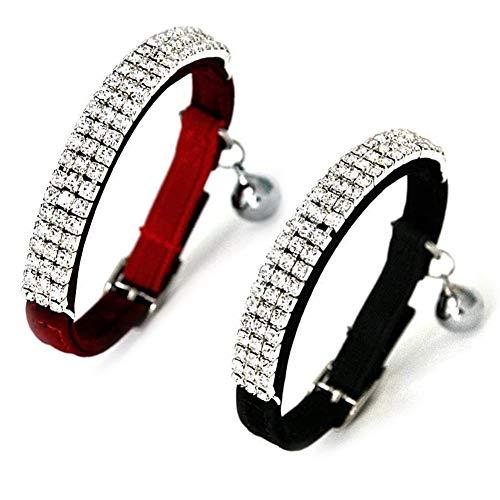 Kingkindsun -2PCS Collare per Gatti in Morbido Velluto, Design con Diamanti Bling con Campane, 11 Pollici per Gatti e Cani di Piccola Taglia(Nero + Rosso)