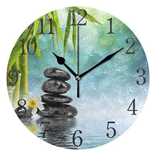 orologio da parete zen AABAO - Orologio da parete rotondo con pietre Zen e bambù