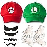 Katara Juego de Disfraces Super Mario Bros Niños/Adultos Roja, Gorra Verde, 6 Bigotes, 2 Pares de Guantes (M_2_G-1)