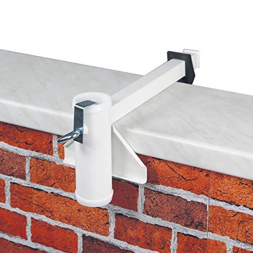 Videx Sonnenschirmhalter Balkon-Mauerbrüstung weiß, Ø Schirmstock bis 40 mm, sehr stabil, Sonnenschirm Halterung Balkonbrüstung, Balkonmauer