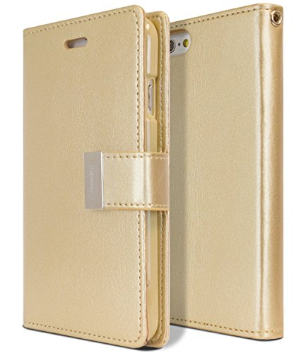 Goospery Rich Wallet for Apple iPhone 6S Plus Case (2015) iPhone 6 Plus Case (2014) Extra Card Slots Leather Flip Cover (Gold) IP6P-RIC-GLD