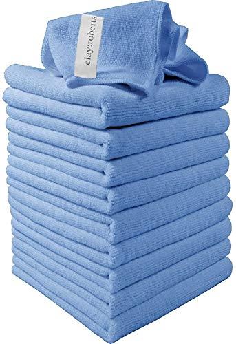 Clay Roberts Bayeta de Limpieza de Microfibra, Azul, Paquete de 10, Paños Lavables para Cocinas y Vehiculos