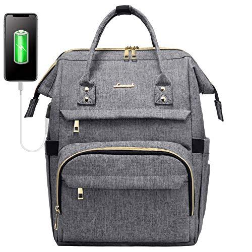 LOVEVOOK Zaino Donna Porta PC Portatile 13 14 Pollici, Impermeabile Zaino Laptop con Caricatore USB, Zaino Computer per Viaggi Lavoro Scuola Ufficio Grigio