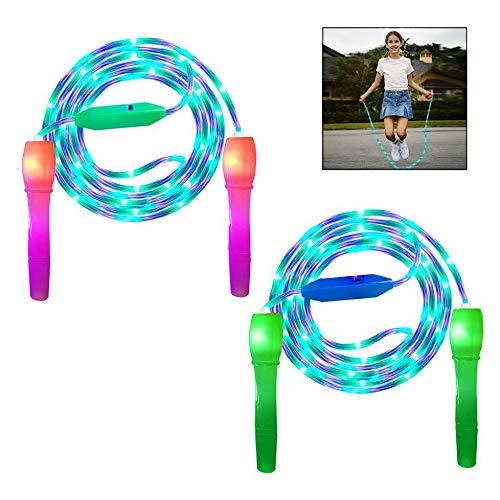 iPobie LED Springseil Kinder 2 Stück Rope Skipping Seil Verstellbare Fitness Springseil für Kinder Erwachsene Party, Gewichtsverlust