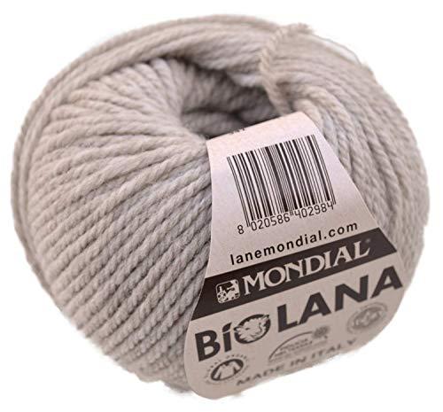 Lane Mondial Bio Lana BioLana Naturwolle Fb. 341 - beige, 50g Organic Wool, Biowolle, 100% Reine Schurwolle zum Stricken und Häkeln